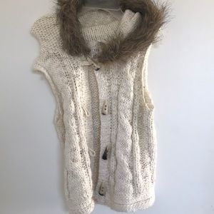 Cream and brown hooded vest